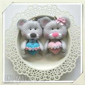 breloki zestaw breloczków zakochane myszki, filc, walentynki, prezent