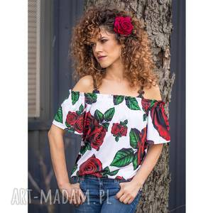 marta - bluzka z odsłoniętymi ramionami, elastyczna, kwiaty, jersey bluzki