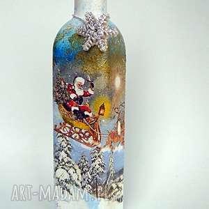handmade na święta prezent święty mikołaj. Dekoracyjna butelka