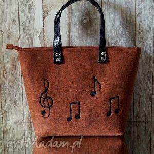 happyart filcowa torba - muzyczny haft, torebka, filcowa, muzyczny, nuty