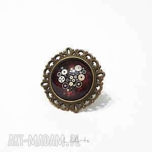 Pierścionek - serce steampunk antyczny brąz liliarts pierścionek