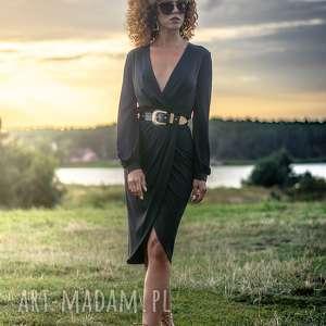 sukienki sophia - black night, koktajlowa, elegancka, kopertowa