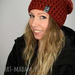 święta, czapka mono 26 - rdzawa, czapa, unisex, beanie, ciepła, prezent