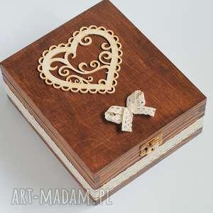 pudełko na herbatę - 4 komory, drewno, koronka, herbata, prezent, rustykalne