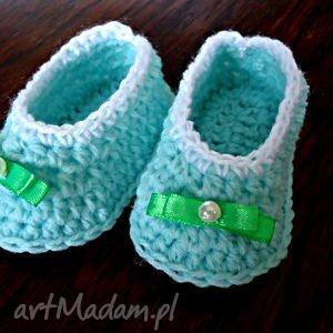 hand-made buciki miętowe balerinki dla dziewczynki szydełkowe