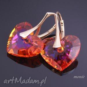 Serce na dłoni, kolczyki - ,kolczyki,serce,biżuteria,pozłacane,srebro,swarovski,