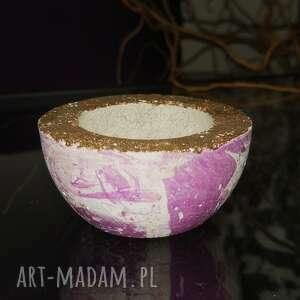 hand-made świeczniki fioletowo-srebrny świecznik na standardowe podgrzewacze