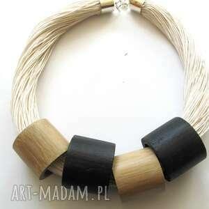 hand-made naszyjniki biało-czarne