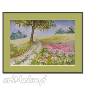 polna droga,akwarela, akwarela, pejzaż, obrazy, ręcznie, malowane dom