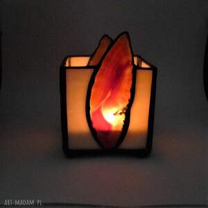 Prezent PREZENT. Świecznik. Lampion z agatami hand made, nastrojowe światło