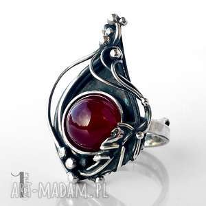 pierścionki leśny skarb srebrny pierścień z agatem brazyliskim, srebro, agar
