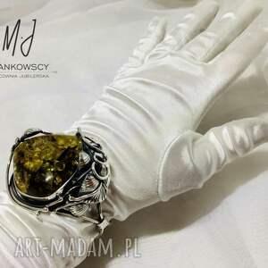 ręcznie wykonane bransoleta srebrna z bursztynem bałtyckim unikat