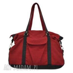 na ramię 07-0010 bordowa torebka sportowa torba fitness pigeon, modne, markowe