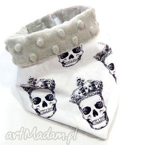 handmade ubranka apaszka minky skulls silver