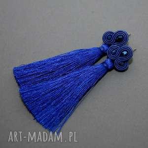 kobaltowe kolczyki sutasz, sznurek, kobaltowe, granatowe, chwost, wiszące, długie