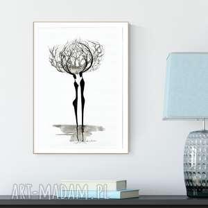 grafika 30x40 cm wykonana ręcznie, elegancki minimalizm, obraz do salonu