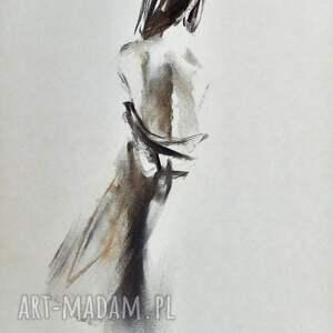 szkic kobiety 57x39cm, obraz do salonu, grafika kobieta, kobieta obraz, wystrój