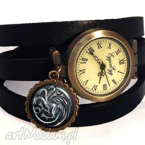 ręczne wykonanie zegarki smoki gra o tron - zegarek / bransoletka na skórzanym pasku
