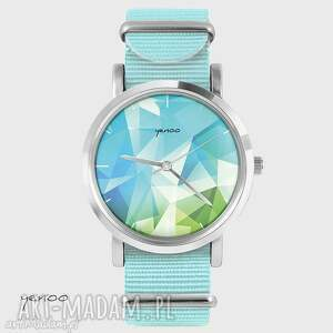 zegarki zegarek, bransoletka - geometric, turkusowy niebieski, nato, zegarek