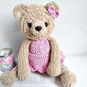 Pluszowa panna misia w różowej sukience - 23 cm - ,maskotki,misie,przytulanki,zabawki,
