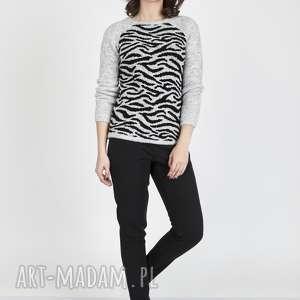 swetry sweterek z motywem, swe118 jasno szary/czarny mkm, sweterek, dzianinowy, praca