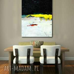 duży abstrakcyjny obraz, żółty akcent, obraz abstrakcyjny
