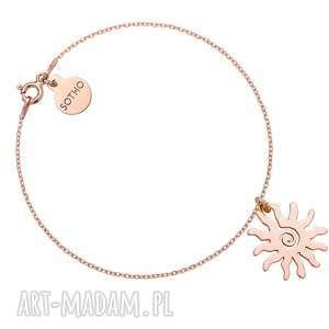Bransoletka z różowego złota ze słońcem, różowe, złoto, modowe,