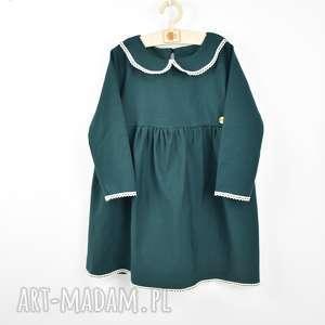 szmaragdowa sukienka z kołnierzykiem, swiateczna sukienka, szmaragdowa, zielona