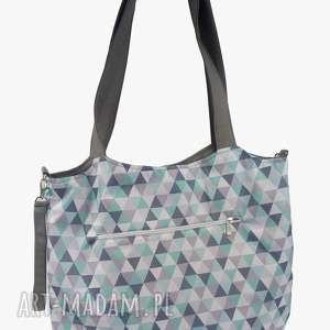 Torba Shopper z mocowanim do wózka Lzurowe trójkąciki, shopperka, torba-do-wózka