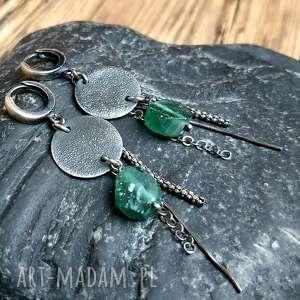 kolczyki srebrne ze szkłem afgańskim, szkło afgańskie