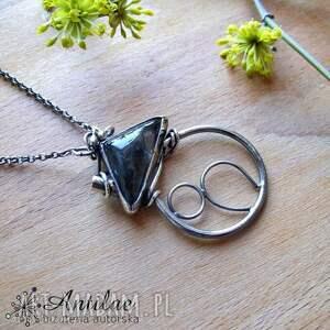 Naszyjnik z kwarcem turmalinowym, srebrny naszyjnik, srebro, kwarc, turmalin, srebro
