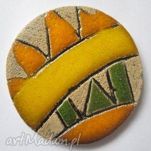 Etniczna broszka, ceramiczna, wiosenna