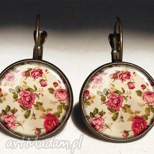 retro róże - duże kolczyki wiszące, vintage