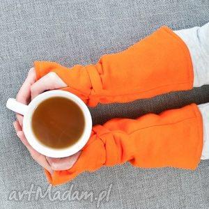 hand-made rękawiczki mitenki - pomarańczowe
