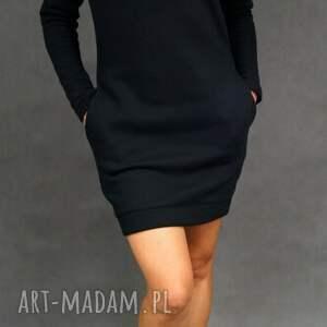sukienki dresówka komin czarna, tunika, dresowa, sukienka, komin, ciepła, unikalne