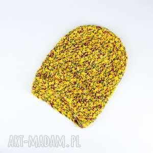 kolorowa czapka dziergana wełna unisex - czapka, wełna, szydełko, unisex