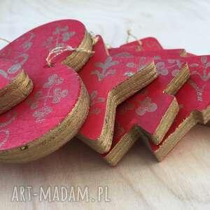 dekoracje zestaw 6 ozdób choinkowych ze sklejki seria king crimson 2, ozdoby