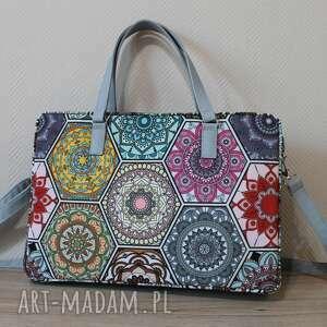 torba na laptop - kolorowe heksagony, laptop, prezent, święta