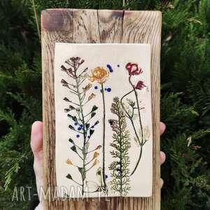 obrazek ceramiczny kwiaty polne, na desce, obrezek ceramiczny, obraz