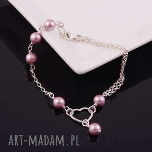 serce-srebrna bransoletka z pereł swarovski, perły, delikatna