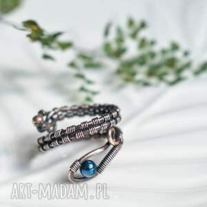 hematyt w miedzi - pierścionek, pierścionek miedziany, regulowany