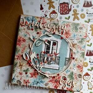 scrapbooking kartki świąteczna kartka z okienkiem, vintage, święta, śnieg, okno