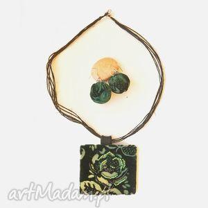 Naszyjnik i kolczyki Zielona Róża, naszyjnik, wisior,