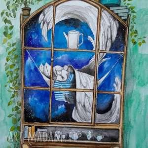 w starych kredensach anioły śpią akwarela artystki adriany laube, anioł, kredens