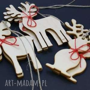 ozdoby świąteczne drewniane renifery 12 szt, renifery, drewniane, zawieszki, sklejka