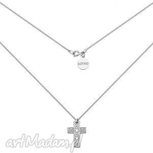 srebrny męski naszyjnik pancerka z ażurowym krzyżem sotho
