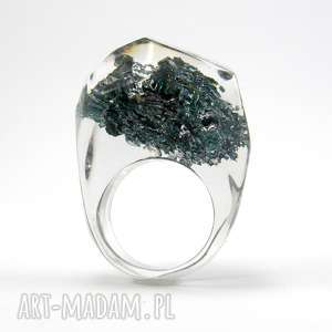 pierścionek z węglikiem krzemu, żywica, karborundum, minerał, naturalna