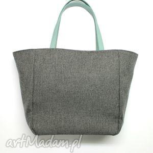 na ramię shopper bag worek - dark grey i rączki miętowe, elegancka, nowoczesna