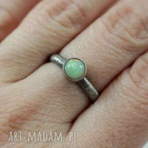 opal z etiopii i srebro - 2690 pierścionek r 13,5, opal, etiopski, 13-5
