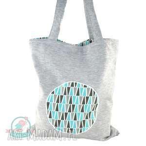 Torba na zakupy z dresu trójkąty turkus, zakupy, torba, dresówka